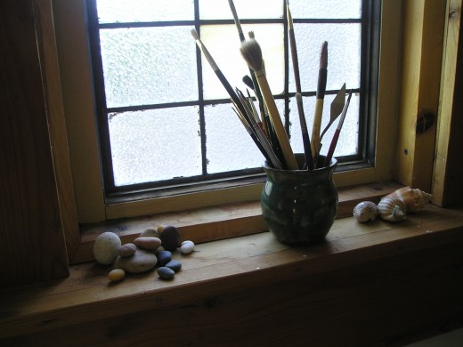 looking out the window of our little artist's cottage.
