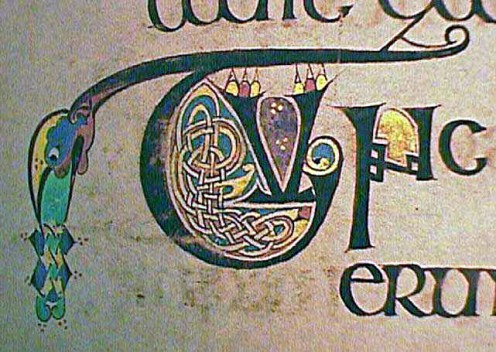 Close-up of a capital letter decorated in Illuminated manuscript techniques in the Book of Kells.