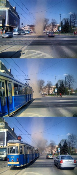 Dust devils on a street in Krakow, Poland. These  pictures were taken in 2008.