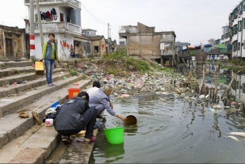 "In Guiyu, China, the water is contaminated from the all the ""recycling"" done in that area.  The surroundings here are squalid at best; and, apocolyptic for the main part."