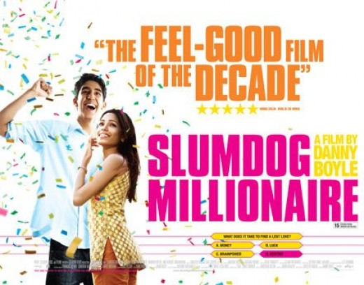 The Slumdog Millionaire movie poster starring Dev Patel and Freida Pinto.