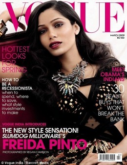 Freida Pinto on the cover of Vogue, basking in the success of Slumdog Millionaire.