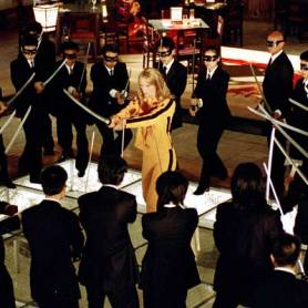 "Uma Thurman surrounded by an army of assassins in ""Kill Bill vol. 1"""