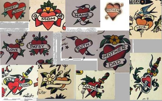 Dani Rose Tattoo Heart images from actual 1940s tattoo flash.