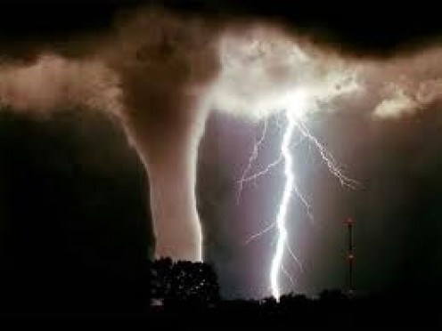 Picture of tornado and massive lightning bolt