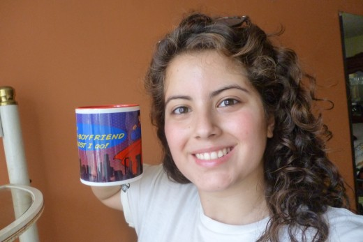 Never mind the cup. It was the only picture in which my hair colour showed up properly. My hair is naturally curly.