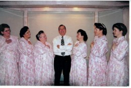 Merill Jessop with his wives (from left to right): Cathleen, Ruth, Faunita, Tammy, Barbara, and Carolyn