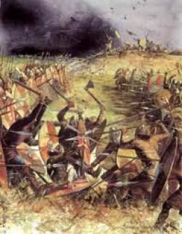 The battle rages at Clontarf north of Dublin