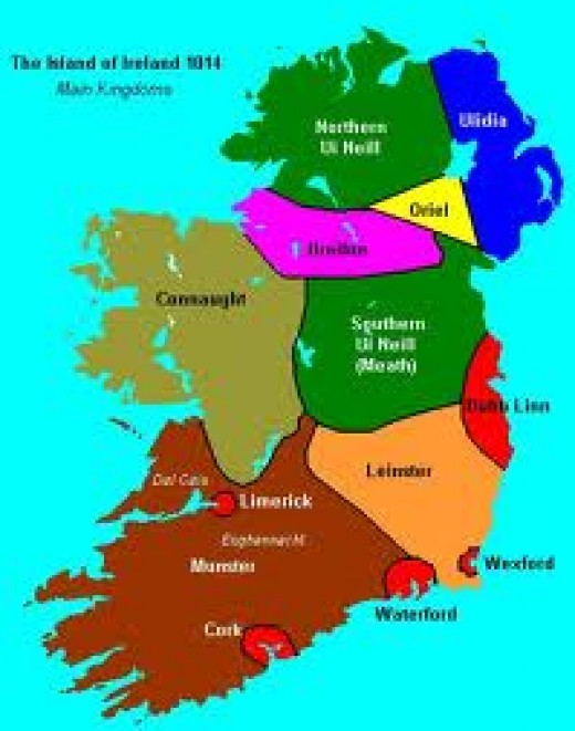 The kingdoms of mediaeval Ireland - Dublin is the red patch on the east coast