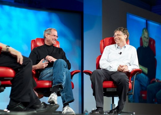 At first rivals, Steve Jobs and Bill Gates, computer wunderkinds,  eventually  joined forces and rule the computer world with their products and innovations.