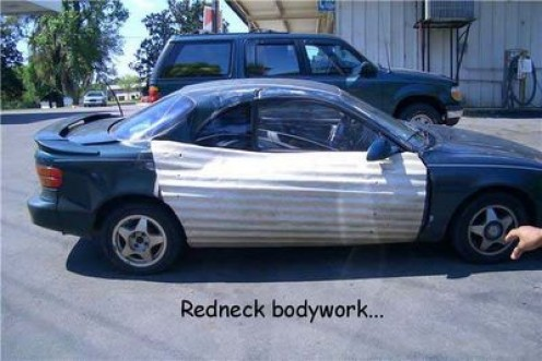 This is one way to save money. Be your own body shop repair shop. Just find a trailer park. Need some extra bucks at the end of the month? I know how to help