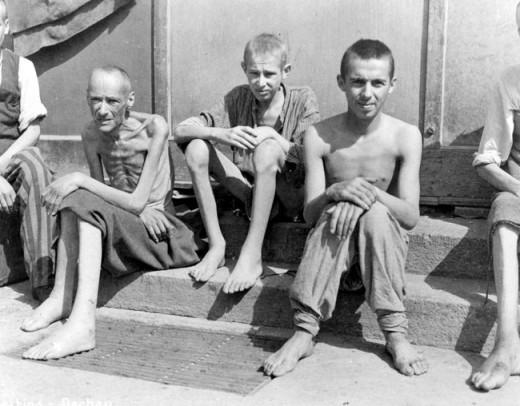Survivors of Buchenwald, near Weimar, Germany, 1945