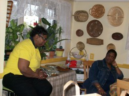 Donna, also helped to prepare some of this  delicious food as she teased other family members.