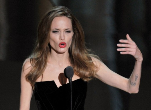 One of Jolie's arms as it emerged last Sunday night at the Academy Awards