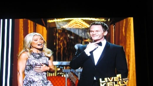 Kelly Rippa is joined by guest co-host, Neil Patrick Harris, on stage for the first time at the Kodak Theatre.