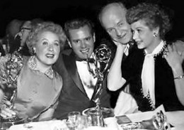 """""""I Love Lucy"""" cast celebrating at the Emmy Awards"""