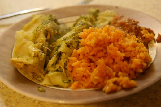 Delicious chicken enchiladas with green sauce - just add rice and beans for a delicious dinner!