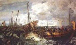 The Battle of Svold where Olaf Tryggvason stepped overboard from the 'Ormen Lange' ('Long Serpent') in his full armour