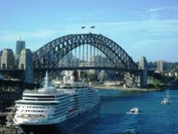 The Harbour Bridge Sydney, and a ship docked nearby, very much the same picture when I arrived in Sydney by ship.