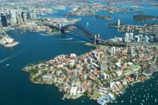 Aerial picture of part of Sydney city around the harbour bridge, If one looks closely you can just imagine how large is this Sydney harbour and the bridge.
