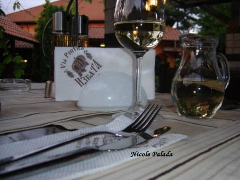 Tasting White Wine at Restaurant  Izbata, Via Pontica, Bulgaria