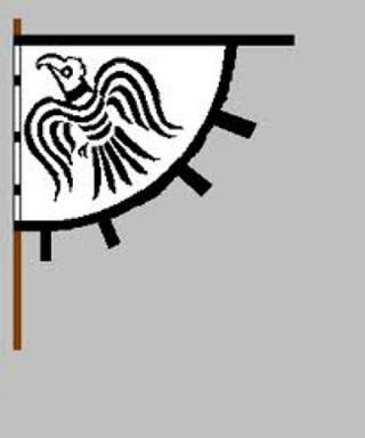 Hrafnsmerki - the Raven standard as borne by Harald Sigurddson in his fateful Northumbrian campaign supporting Tostig Godwinson's bid for reinstatement as Earl of Northumbria...