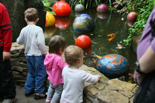 The colorful floating balls and the koi fish fascinated every child there.