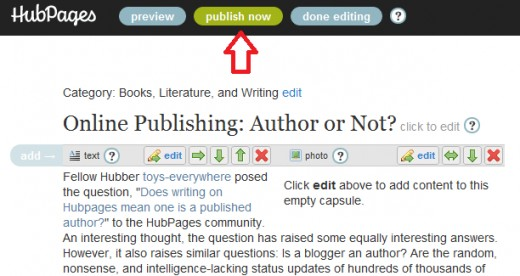 "Does clicking the ""Publish Now"" button make you a published author?"