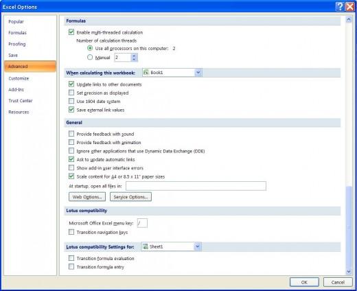 Excel Options ==  Advanced Tab