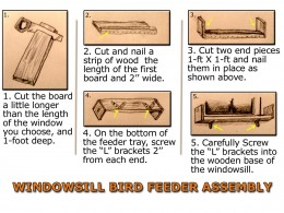 Simple Picture by picture instructions for a windowsill bird feeder assembly.