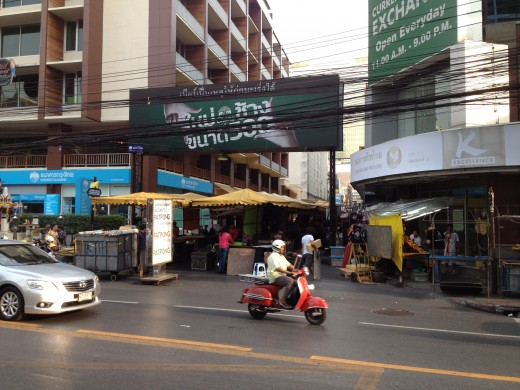 Patpong night market, right outside the Montien. Shops start to set up around 6pm.