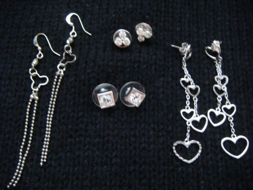 Between the two, I also find myself choosing the dangling earrings.  I look good in them.