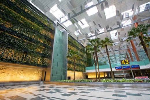Terminal 3's green wall and waterfall.