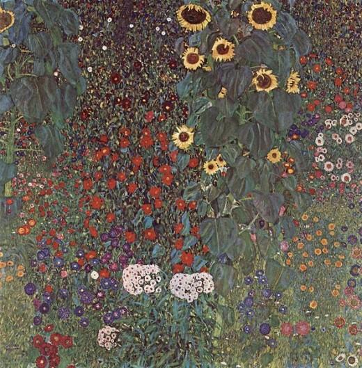 Farm Garden With Sunflowers, by Gustav Klimt