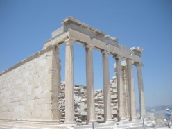 One of the many ancient buildings, left in Greece.  I love the pillars.