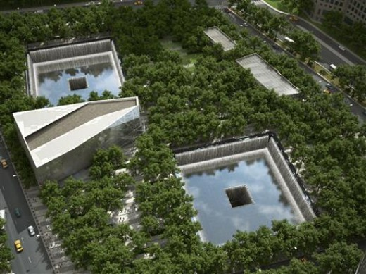 This is an aerial rendering of the National September 11 Memorial & Museum.