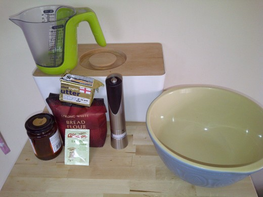 These are your main baking apparatus and ingredients. Not much is it!