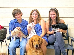 My family with cats Gilligan, Sugar and Sassy