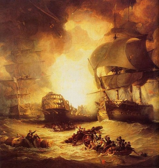 The explosion of the L'Orient at the Battle of the Nile, extinguished Napoleon's dreams of an Eastern Empire.