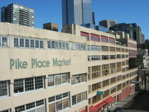 Seen from the waterfront side, Pike Place Market is many levels of stores, shops, restaurants and places to explore.
