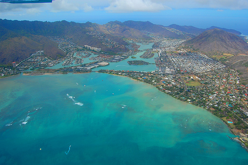 Hawaii Kai from the airplane.