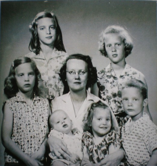 Mom and her six children taken in 1960