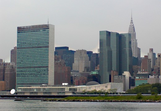 UN building skyline taken from the Water Club, across the East River with the Chrysler building in the background       © Eric Heifetz