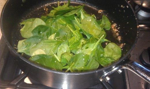 Spinach before wilting for the recipe