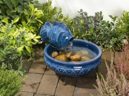 Blue Glazed Fish Solar Fountain