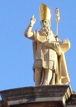Sveti Vlaho also known as Sveti Blaž or Saint Blaise was born in Asia Minor, today's Turkey.  He is the Patron Saint of Dubrovnik.  Note how he is holding the city of in his arms.