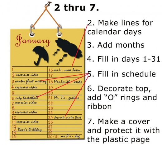 Calendar instructions 2 thru 7, the completed project.