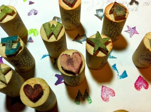 Rubber Stamps from Wine Corks