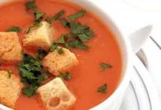 Tomato soup is great in the summer heat for a light meal, and a great warmer upper for cool winter days.  Croutons add a special touch!
