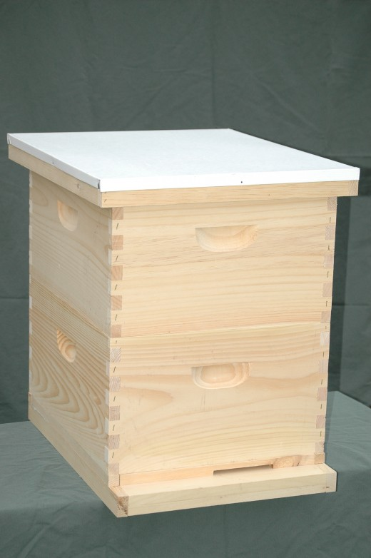 A basic Langstroth style beehive.